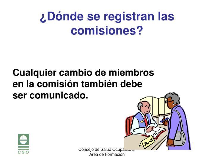 Cualquier cambio de miembros en la comisión también debe ser comunicado.
