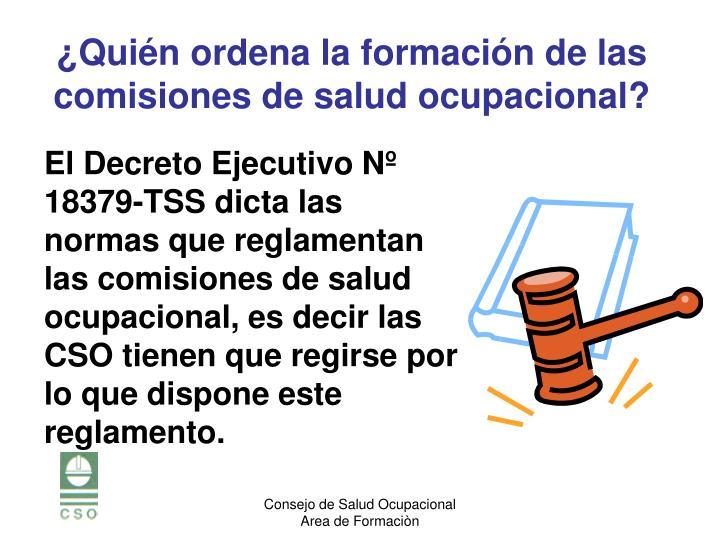 El Decreto Ejecutivo Nº 18379-TSS dicta las normas que reglamentan las comisiones de salud ocupacional, es decir las CSO tienen que regirse por lo que dispone este reglamento.