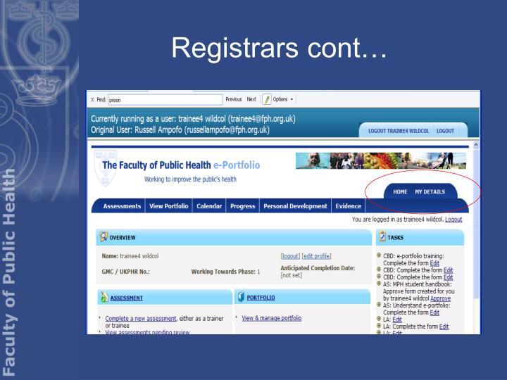 Registrars cont…