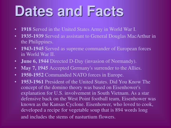 Dates and Facts