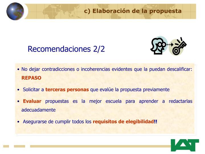 c) Elaboración de la propuesta