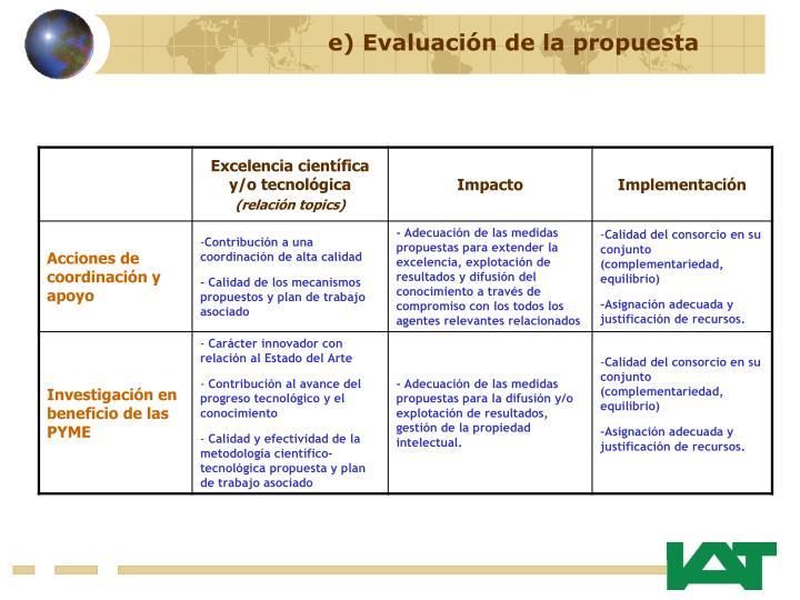 e) Evaluación de la propuesta