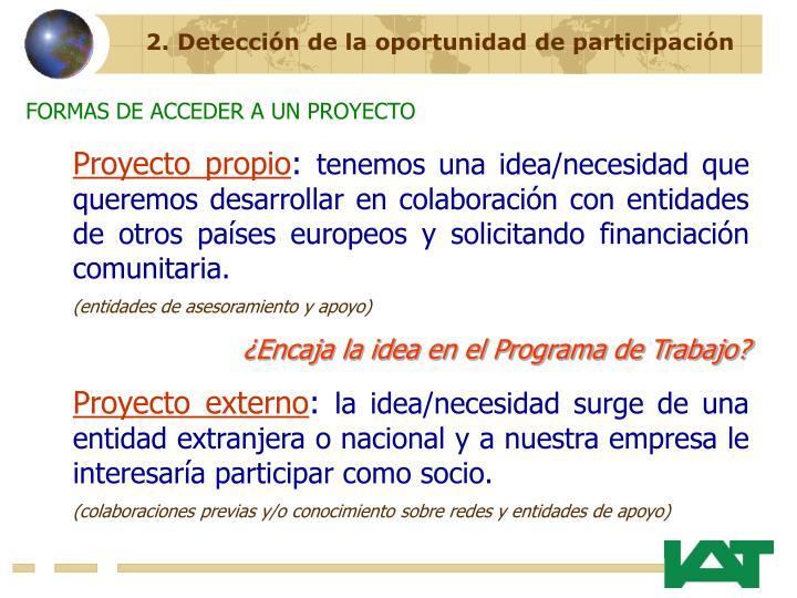 2. Detección de la oportunidad de participación