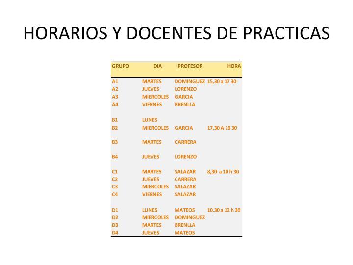 HORARIOS Y DOCENTES DE PRACTICAS