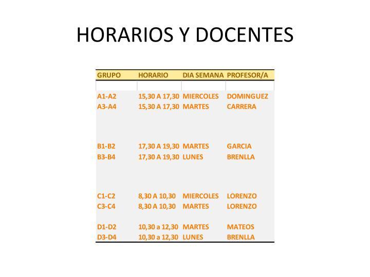 HORARIOS Y DOCENTES