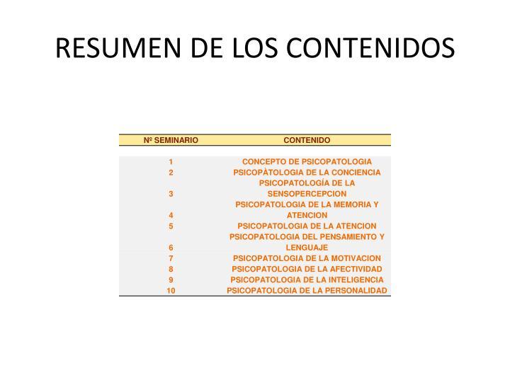 RESUMEN DE LOS CONTENIDOS