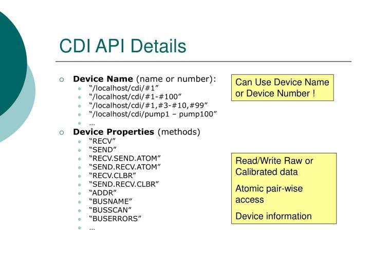 CDI API Details