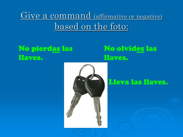 Give a command affirmative or negative based on the foto