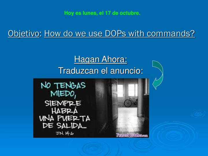 Objetivo how do we use dops with commands