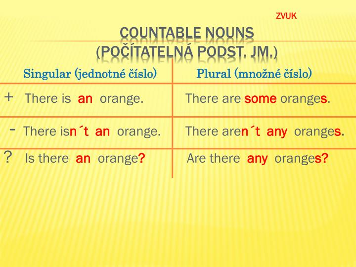 Countable nouns po tateln podst jm