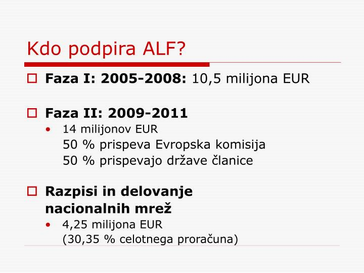 Kdo podpira ALF?