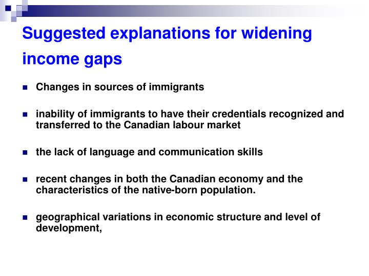 Suggested explanations for widening income gaps