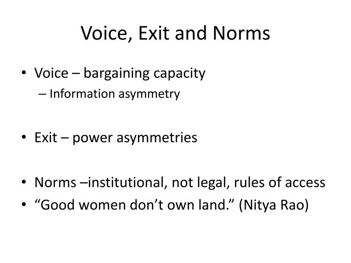 Voice, Exit and Norms