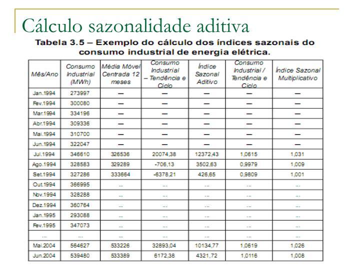 Cálculo sazonalidade aditiva