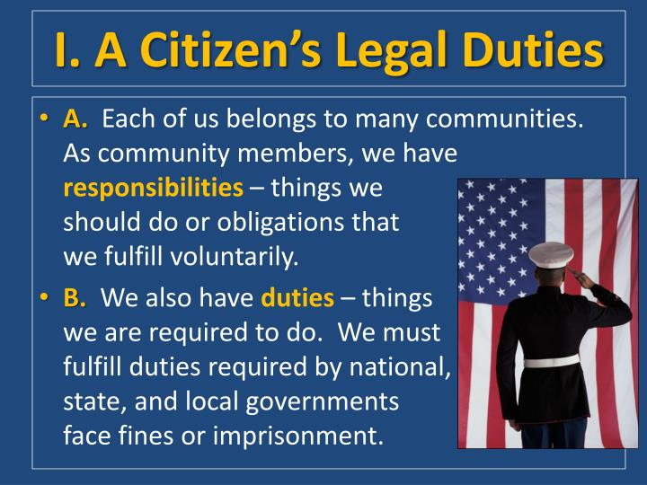 I. A Citizen's Legal Duties