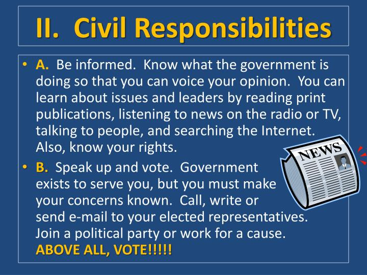 II.  Civil Responsibilities