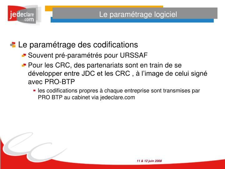 Le paramétrage logiciel