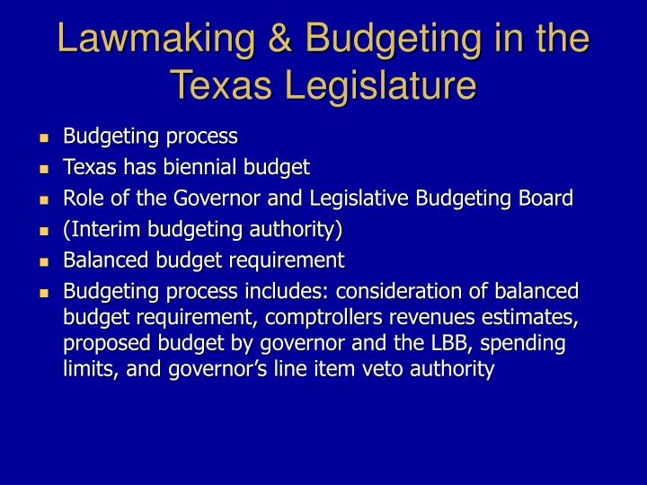 Lawmaking & Budgeting in the