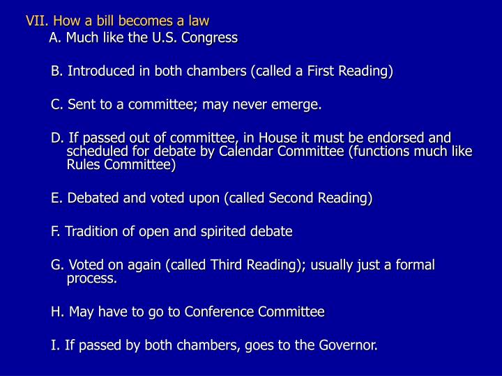 VII. How a bill becomes a law