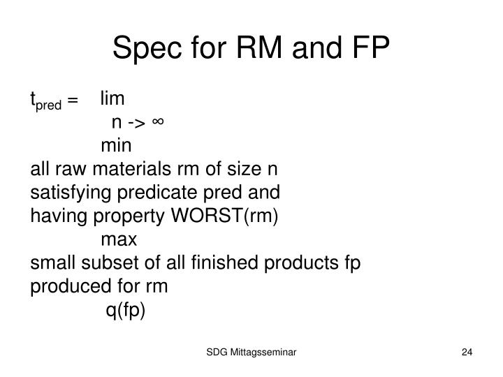 Spec for RM and FP