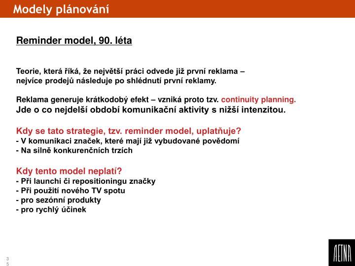 Modely plánování