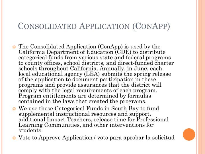 Consolidated Application (