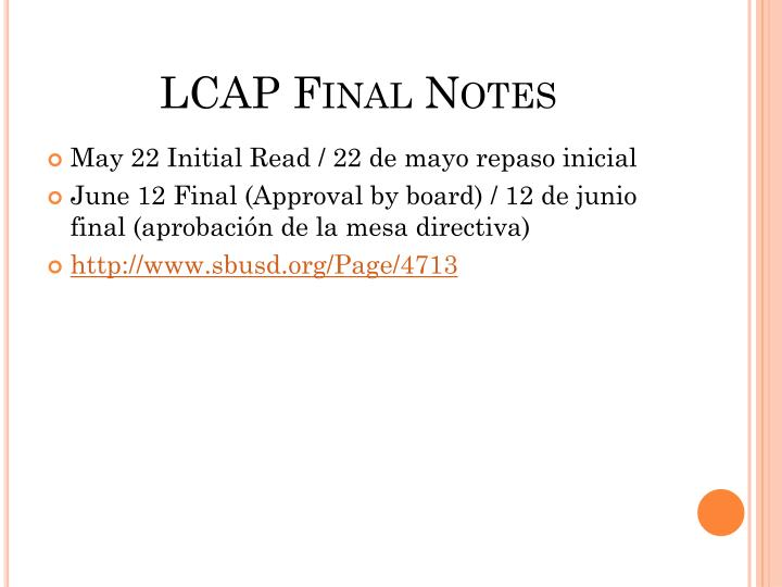 LCAP Final Notes