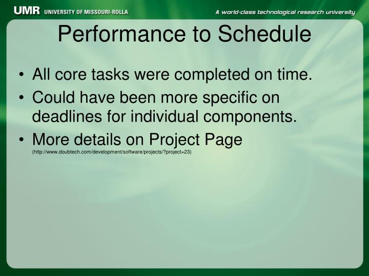 Performance to Schedule