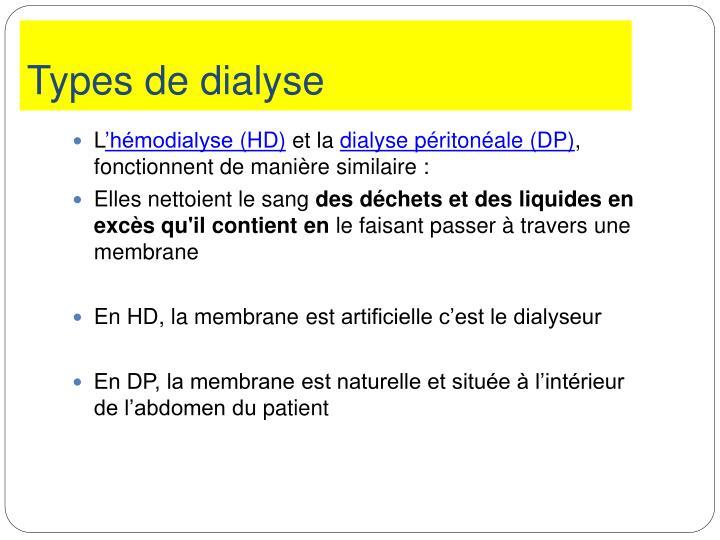Types de dialyse