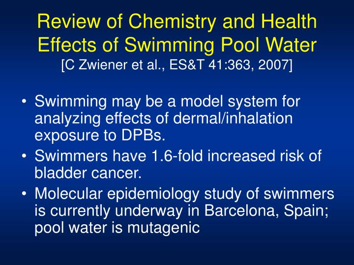 Review of Chemistry and Health Effects of Swimming Pool Water