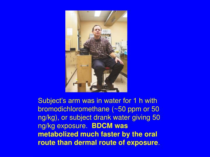 Subject's arm was in water for 1 h with bromodichloromethane