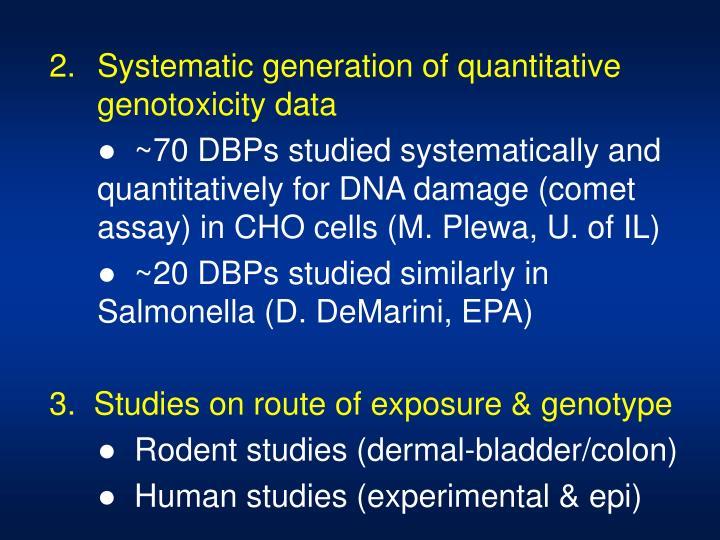 Systematic generation of quantitative genotoxicity data