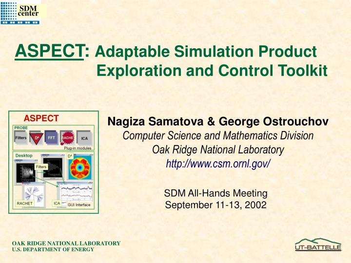 Aspect adaptable simulation product exploration and control toolkit