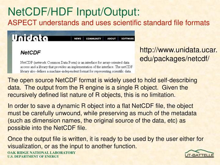 NetCDF/HDF Input/Output: