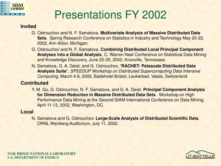 Presentations FY 2002