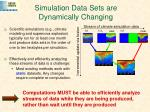 simulation data sets are dynamically changing