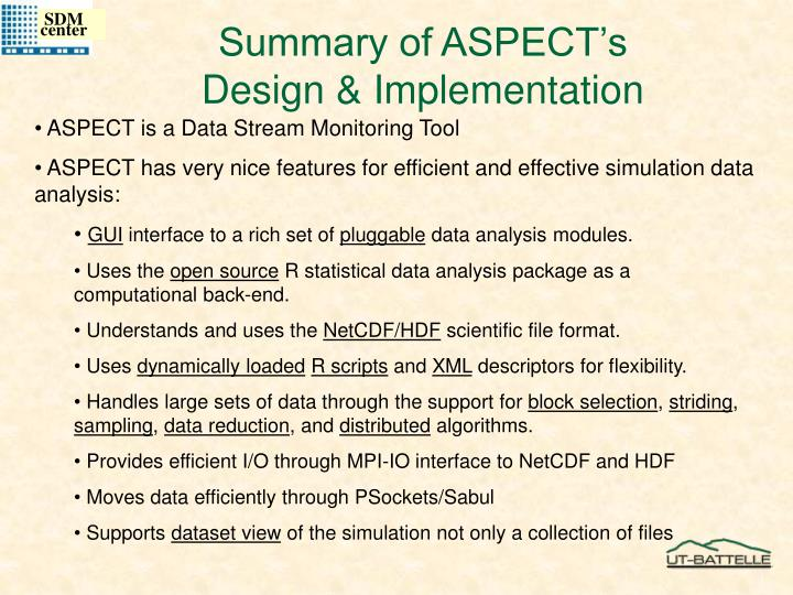Summary of ASPECT's