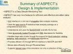 summary of aspect s design implementation