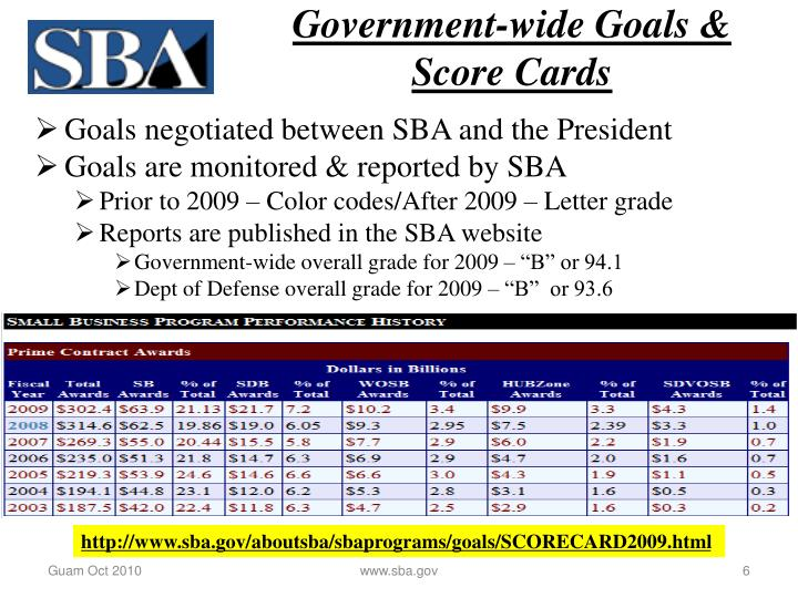 Government-wide Goals & Score Cards