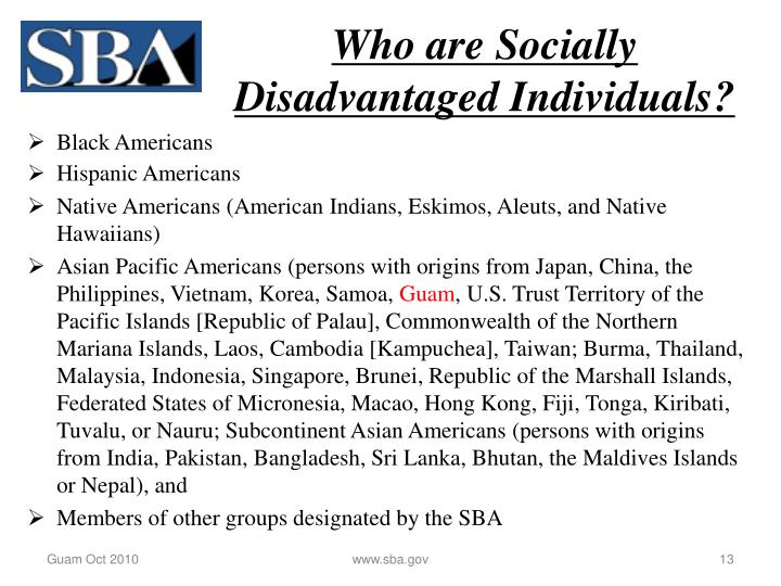 Who are Socially Disadvantaged Individuals?