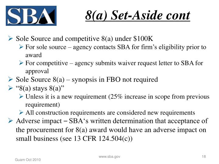 8(a) Set-Aside cont