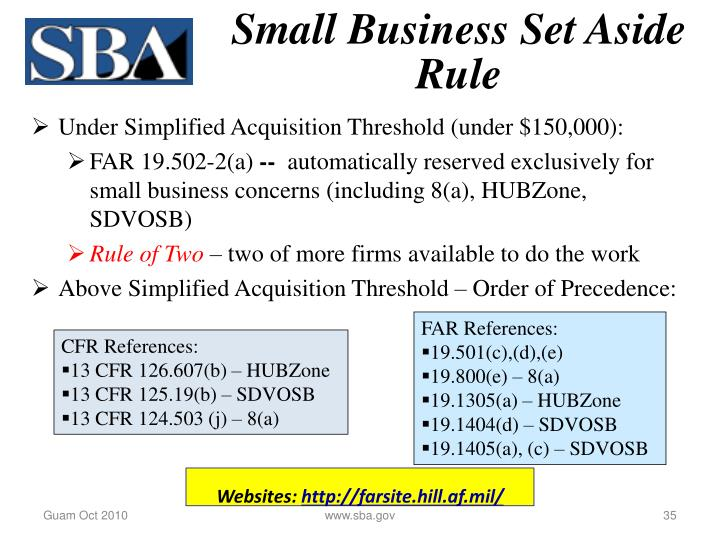 Small Business Set Aside Rule