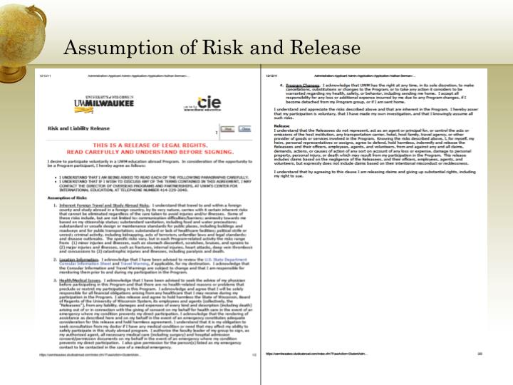 Assumption of Risk and Release