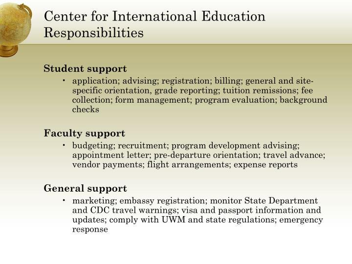 Center for International Education Responsibilities