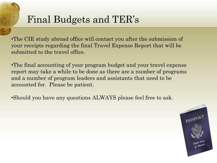 Final Budgets and TER's