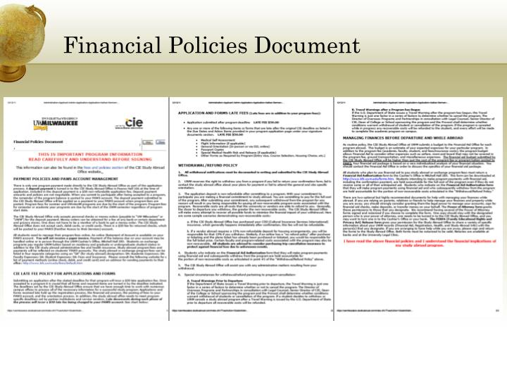 Financial Policies Document