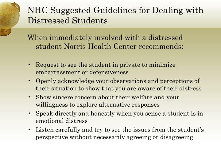 NHC Suggested Guidelines for Dealing with Distressed Students