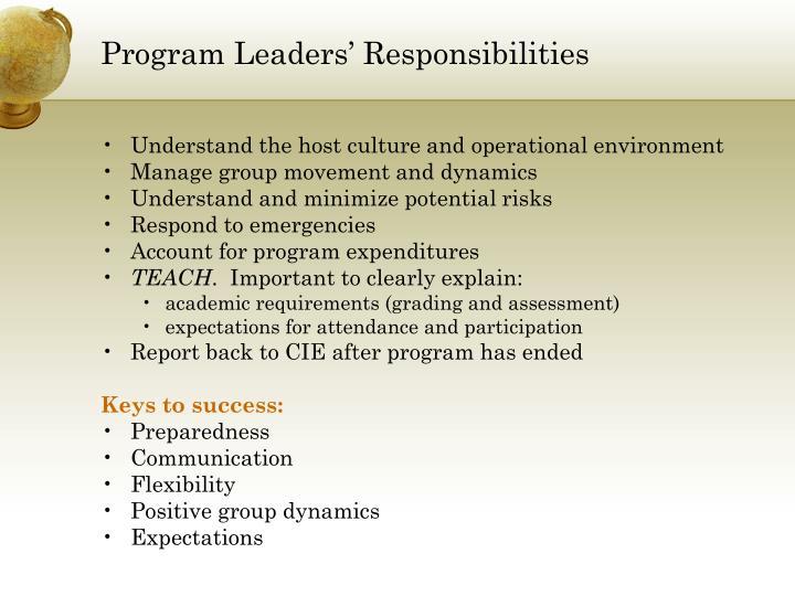 Program Leaders' Responsibilities