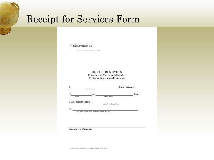Receipt for Services Form