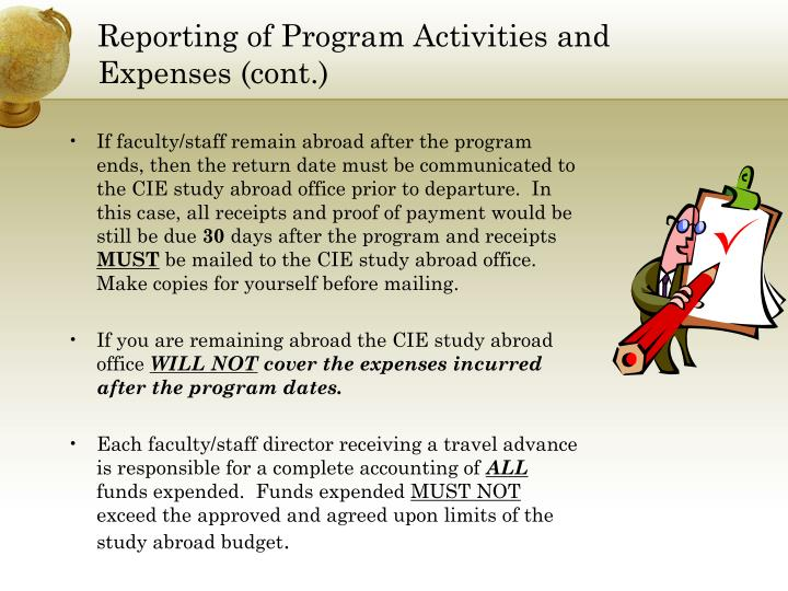 Reporting of Program Activities and Expenses (cont.)